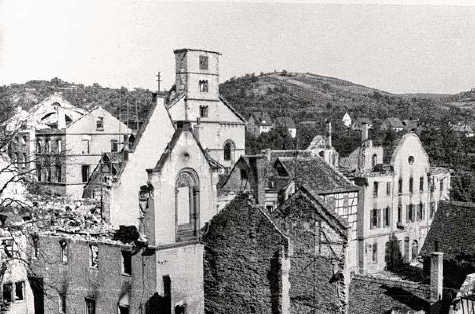 Die Zerstörung nach dem Bombenangriff auf Bensheim