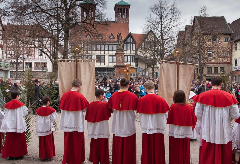Palmweihe auf dem Marktplatz in Bensheim